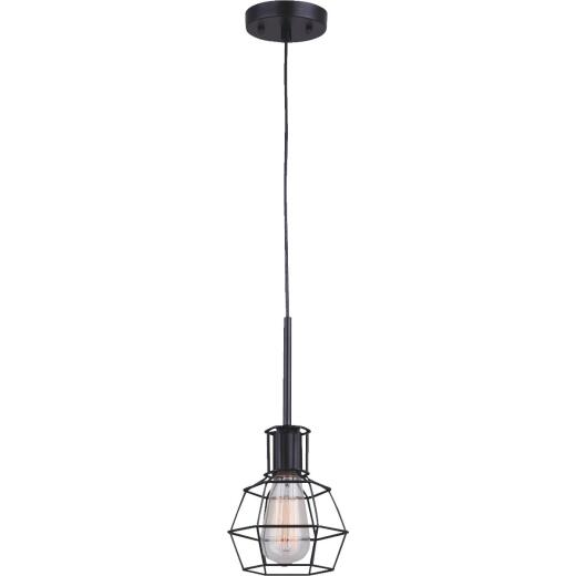 Home Impressions 1-Bulb Black Incandescent Hexagon Cage Style Pendant Light Fixture